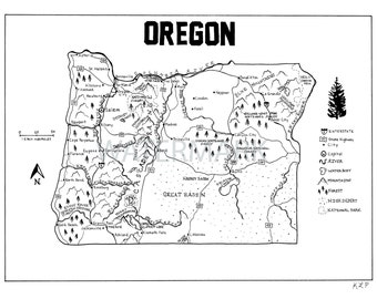 Oregon Hand Drawn Map
