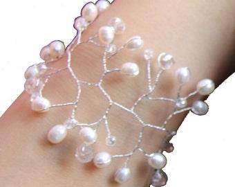ivory Pearl Bracelets, freshwater pearl bracelets, wrap wedding bracelets, pearl bracelets for bridesmaids, bride bracelets pearl