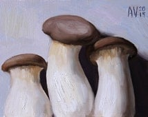 King Oyster Mushrooms Painting, original oil painting still life on board by Aleksey Vaynshteyn