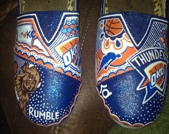Hand painted NBA shoes- OKC Thunder