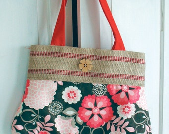 Large Pink Floral Print with Jute Band and Wooden Floral Button Accent