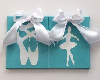Ballet Art, Dancer Art, Ballerina Wall Art, Ballet Shoes, Childrens Wall Art, Original Canvas Art, Girls Rooms, Girls Rooms Aqua, Teen Rooms