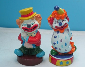 ON SALE!!! Set of Two Vintage Clown Coin Banks