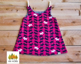 SALE!! Red and Black Scottie/Scotty dog toddler dress. Black and white gingham Reversible A-Line/Jumper Dress.
