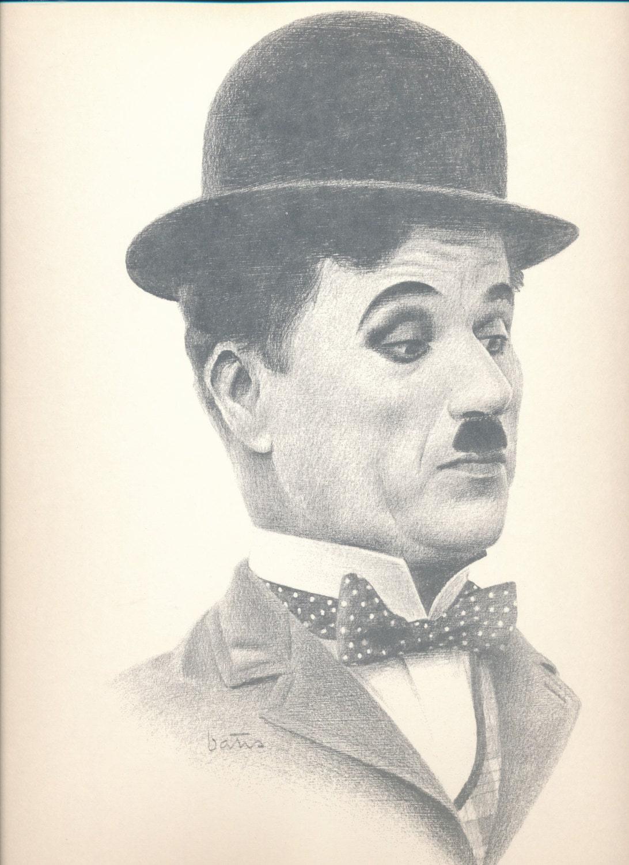 Bill Bates Print Charlie Chaplin Comedy Legend Unframed
