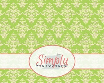 GREEN DAMASK vinyl Photography Backdrop