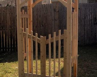 Brand New Decorative Cedar Garden Arbor with Gate - Free Shipping