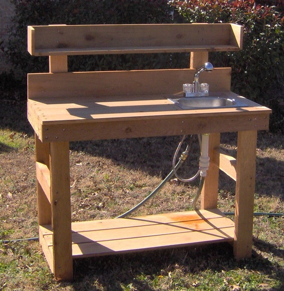 Brand New 6 Foot Deluxe Cedar Potting Bench With Sink Free