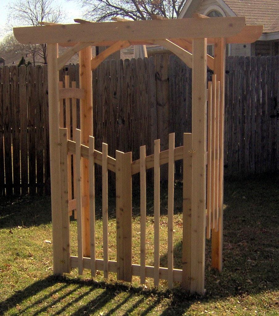 Unique Arbor Gate: Brand New Decorative Cedar Garden Arbor With Gate Free