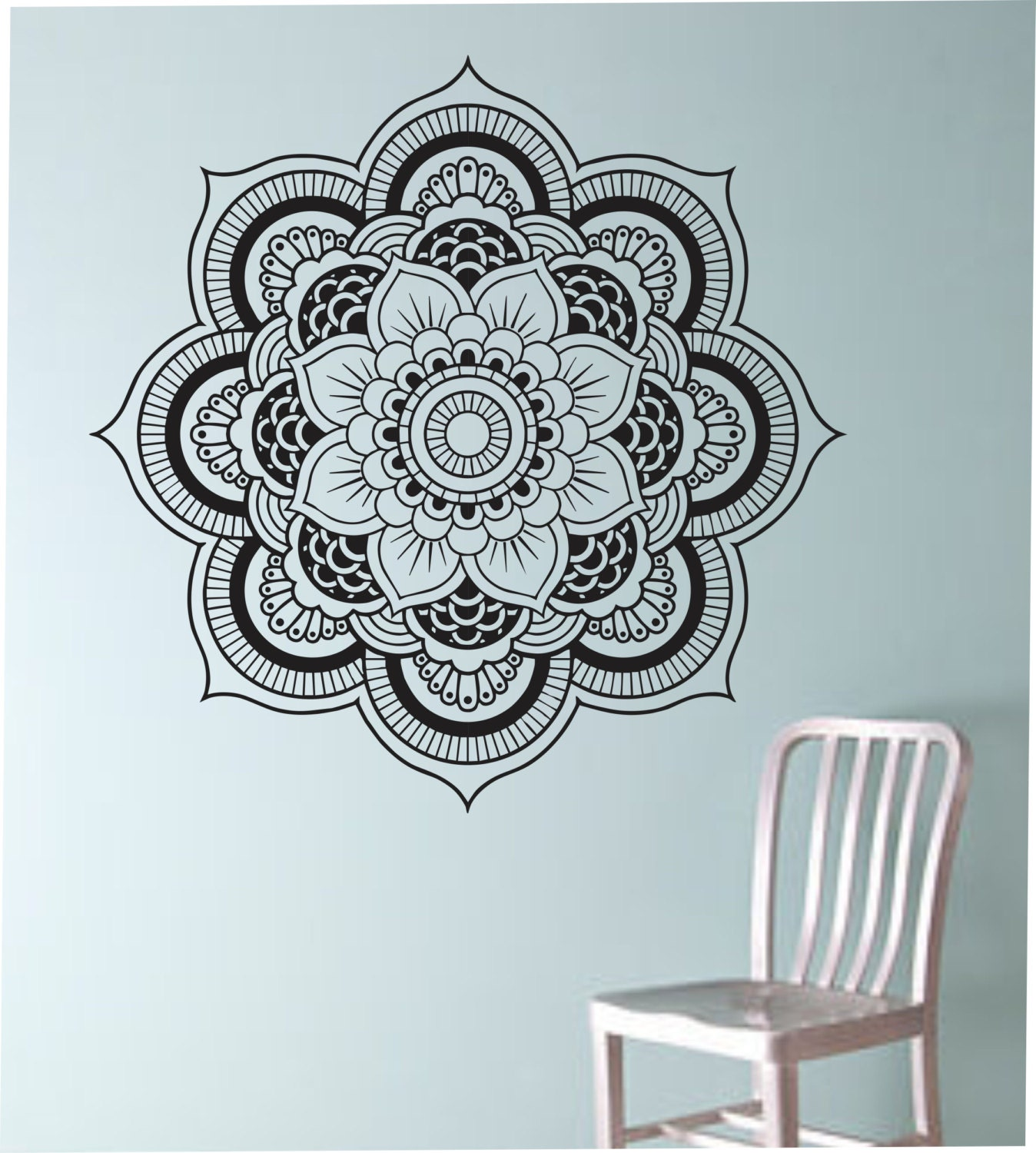 Mandala wall decal flower namaste vinyl sticker art decor for Mural mandala