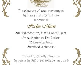 Vintage Inspired Bridal Tea Printable Invitation  Bridal Shower  Tea Party
