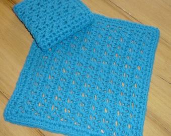 "100% Cotton Crochet 10"" Dish Cloth, Wash Cloth, Spa Cloth ~ Pair"