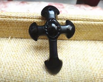 Free shipping natural obsidian pendant necklace cross pendant Jesus patron saint