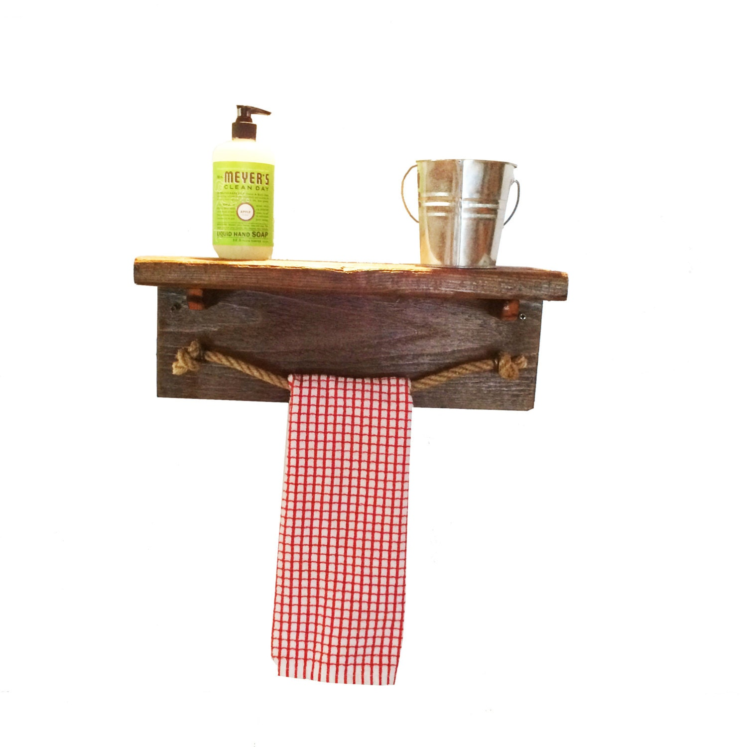 Very Impressive portraiture of Rustic wood shelf and rope towel bar sized 17 by LakesideWoodcraft with #95A12A color and 1500x1500 pixels