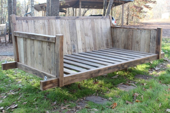Items similar to swing bed made of reclaimed wood on etsy for Diy outdoor daybed plans