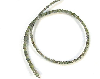 "Grey green Songea sapphire faceted rondelle beads AAA 2-3mm 9"" strand"
