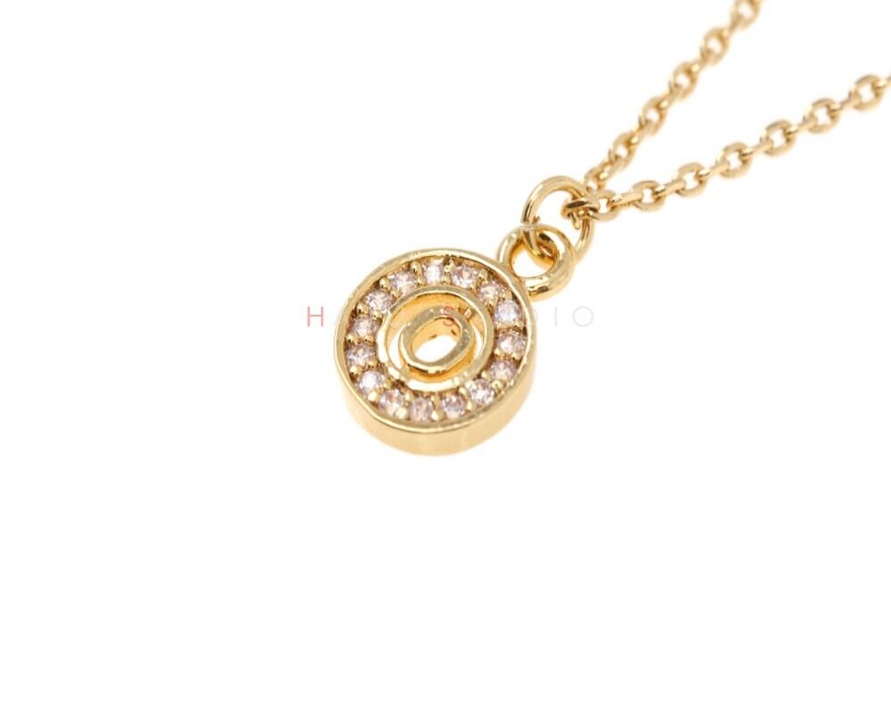 cz circle initial necklace cubic zirconia circle by hajustudio