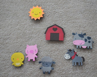 Children's Refrigerator Magnets- Old MacDonald- Farm Animals- Children's Toys-Educational