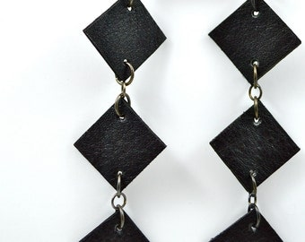 Black Leather Five Diamond Geo Earrings
