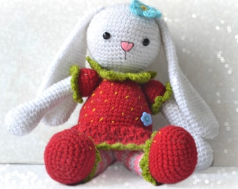 Crochet bunny pattern, amigurumi bunny, strawberry bunny, pattern no 13