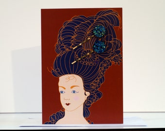 Madam de Pompadour greetings card. Sparkle bobby pins.