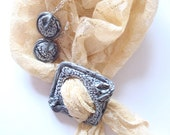 Handmade set: Earrings and Scarf clip/ Scarf decor/Scarf ring/Scarf holder (In stock).  Original decoration.