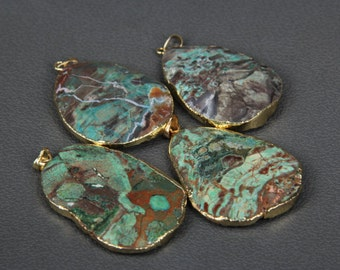 1piece Large Natural Ocean Jasper Slab Beads Pendants Bulk,Gold Edge Raw Ocean Stone Slice Beads Pendentifs Craft Necklaces 40-50mm