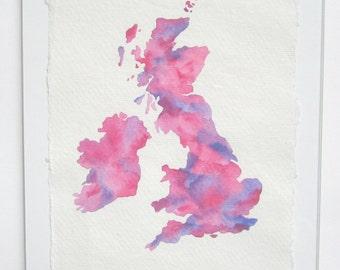 Original watercolour painting of the British Isles