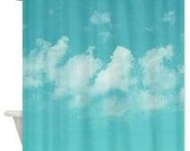 Aqua shower curtain, sky and clouds bathroom shower curtains, mint blue white bathroom decor, bathroom accessories, sky white clouds decor