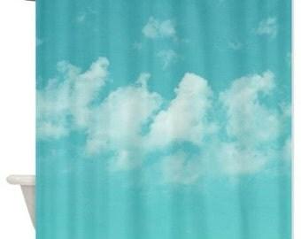 Shower curtain, art shower curtain, aqua blue sky shower cutrain, cloud shower curtain, mint blue bathroom decor, bathroom accessories,