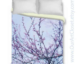 Tree branches duvet cover, king queen duvet cover & shams, pastel bedding, lavender purple blue bedroom decor, nature duvet, botanical duvet