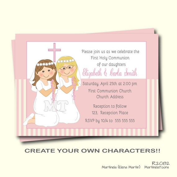First Communion Invitation Twin Girls First Holy Communion Invite