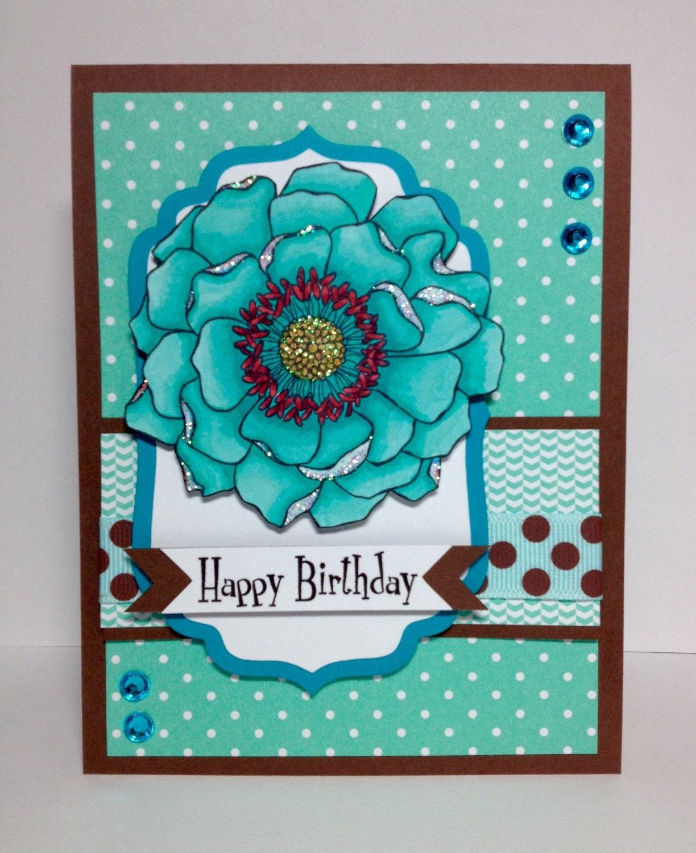 Happy Birthday Card Personalized Aqua Teal By