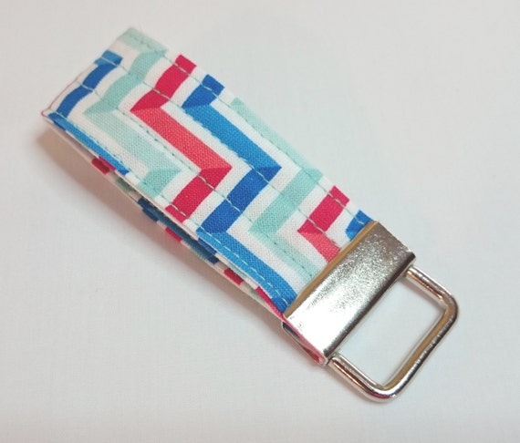 Red White & Blue Chevron Key Fob  Fingerlet Key Fob