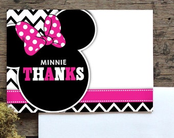 Minnie mouse thank you card, thank you card, minnie, minnie mouse, birthday thank you card, pink and black thank you card, minnie thank you