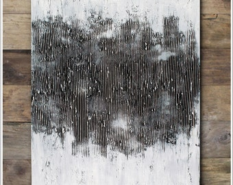 """40""""x30"""" Original Textured Abstract Painting - Black& White ART - Contemporary modern art by Horst Heuchlow"""