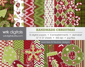 Handmade Christmas Seamless Digital Paper Pack, Digital Scrapbooking, Alphabet, Embellishments, Ornaments