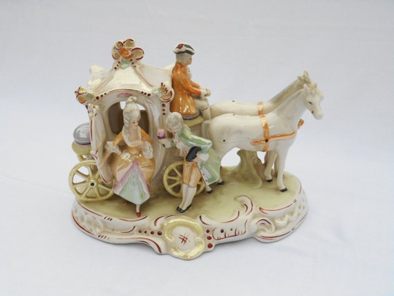 Horse Drawn Carriage From The 1800s Porcelain Figurine With