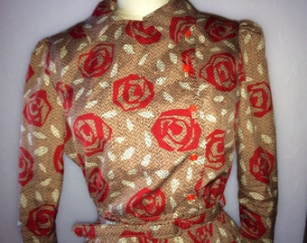 Vintage Women's shirt dress with large rose print sz med-large