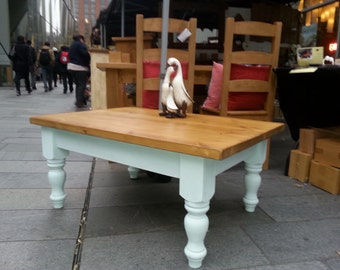 Solid wood coffee table with painted turned legs, chalk paint, duck egg blue