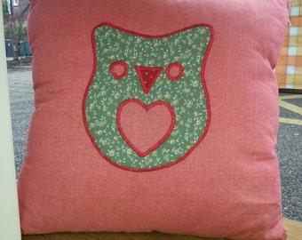 Appliqué owl cushion