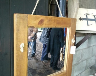 Rope Mirror - solid wood frame finished in natural wax.