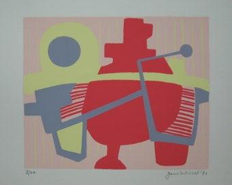 Brighteye - Abstract silkscreen print, mid century modern, signed and dated 1971 by Jane Mitchell, limited edition of 40