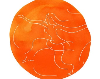 Dance Inspiration Art Print, Orange 8x10""