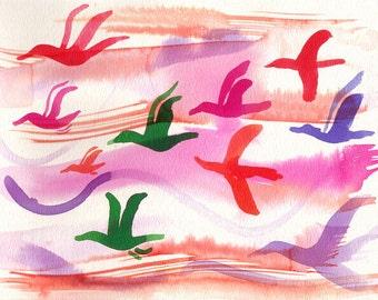 """Art Print birds flying Watercolor 8x10"""""""