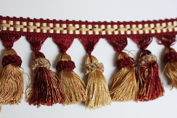 Trim, Tassel Fringe, Burg/Gold, Home Decor Tassels, From