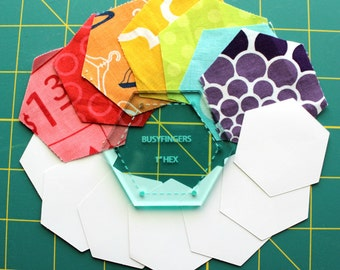 "English Paper Piecing 1"" Hexagon Papers plus Template by Patchwork With Busy Fingers"
