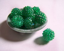 Vintage Supplies 15mm Acrylic Berry Bead Lot 25 pieces Translucent Green New Found Old Stock 1980s Bumpy Christmas Spider Raspberry Bead
