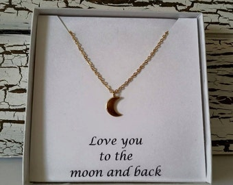 Dainty Gold Moon Necklace, Love you to the moon and back