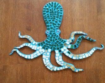 Hanging Mosaic Glass Tile Octopus
